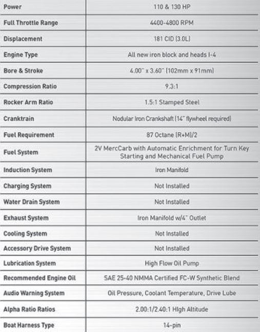 MerCruiser Quicksilver 130 Hp 3 0L Crate Engine   PerfProTech com