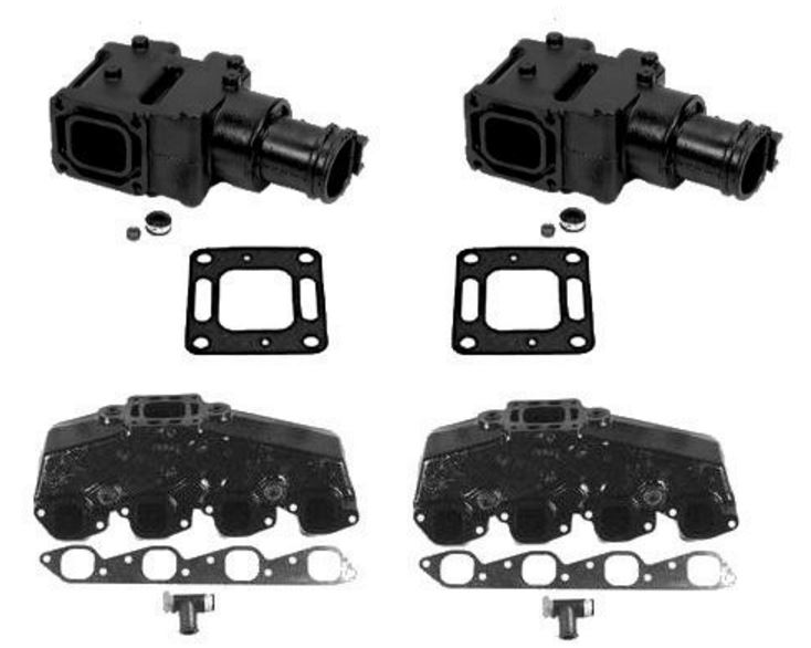 MerCruiser (OEM) Exhaust Manifold & (4 Inch) Riser Kit - 7.4L / 8.2L Big V8 Engine Models (1984-2001) - Click Here to See Product Details