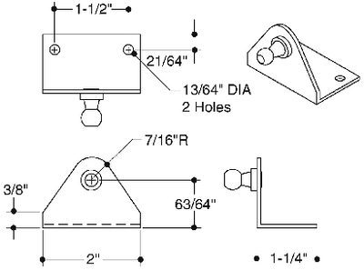 GAS SPRING MOUNTING HARDWARE  (#23-SL50SSP37) - Click Here to See Product Details