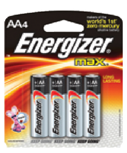 ENERGIZER ALKALINE BATTERIES (#333-E91BP4) - Click Here to See Product Details