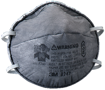 PARTICULATE RESPIRATOR 8247, R95 WITH NUISANCE LEVEL ORGANIC VAPOR RELIEF (#71-8247R95) - Click Here to See Product Details