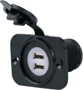 AFI/MARINCO/GUEST/NICRO/BEP 12-24V DUAL USB REC W/PLATE (12VDUSB)