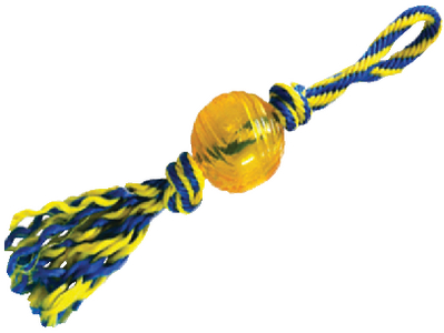"""PAWS ABOARD RUBBER BALL WITH ROPE SMALL 3"""" (T1234)"""