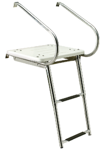 DELUXE UNIVERSAL SWIM PLATFORM<BR>WITH SLIDE MOUNT TELESCOPING LADDER (#50-71181) - Click Here to See Product Details