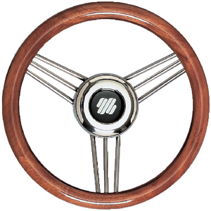 MAHOGANY NON-MAGNETIC STAINLESS STEEL STEERING WHEEL (#216-V26) - Click Here to See Product Details